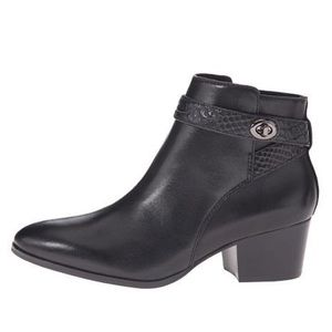 COACH Patricia Kisslock Buckle Leather Ankle Boots